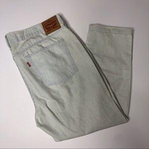 Boyfriend LEVI'S striped blue white denim jeans 33